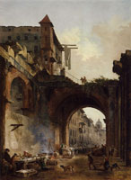 Hubert Robert The Octavian Gate and Fish Market