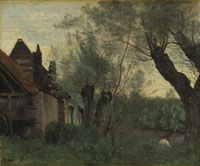 Jean-Baptiste-Camille Corot Willows and Farmhouse at Sainte-Catherine-lès-Arras