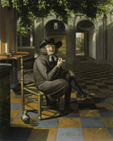 Matthijs Naiveu A gentleman smoking in a shaded courtyard