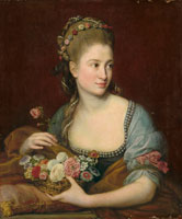 Pompeo Batoni - Portrait of a lady as Flora, half-length, holding a wicker basket of flowers