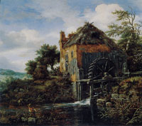 Jacob van Ruisdael A Thatch-Roofed House with a Water Mill