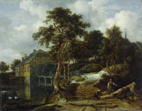 Jacob van Ruisdael Water Mill in a Wooded Landscape