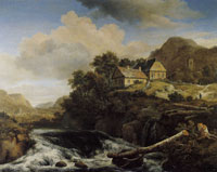 Jacob van Ruisdael Waterfall in a Mountainous Landscape