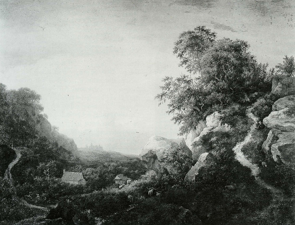 Jacob van Ruisdael - Hilly Valley with a View of Bentheim Castle
