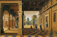 Bartholomeus van Bassen Palace Interior with the Departure of the Prodigal Son