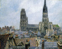 Camille Pissarro The Roofs of Old Rouen, Notre-Dame Cathedral, Overcast Sky