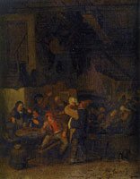Cornelis Dusart Scene at an Inn with Peasants