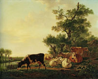 Jacob van Strij Cows and Sheep near a Water