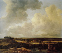 Jacob van Ruisdael View of the Dunes near Bloemendaal with Bleaching Fields and a Ruined Castle