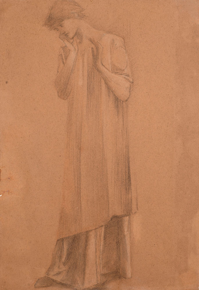Edward Coley Burne-Jones - Study of a draped figure, probably the right hand figure in 'Lancelot at the Chapel of the Holy Grail'