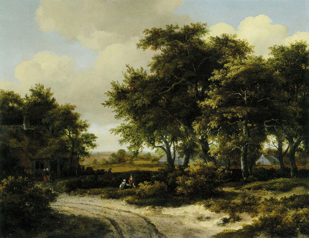 Meindert Hobbema - A wooded landscape with a roadside cottage