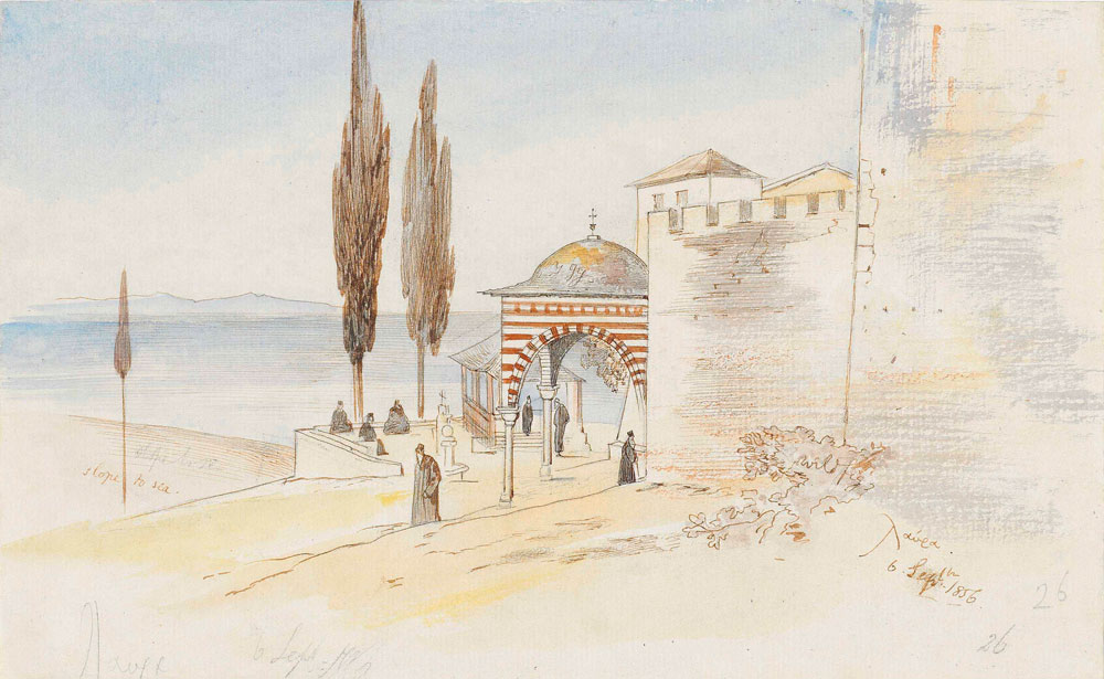 Edward Lear - The monastery of Great Lavra, Mount Athos