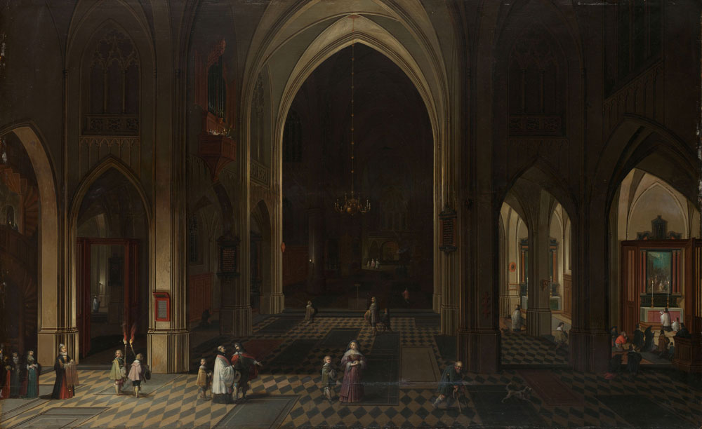 Peeter Neefs the Elder - Interior of a Gothic Church at Night Looking East