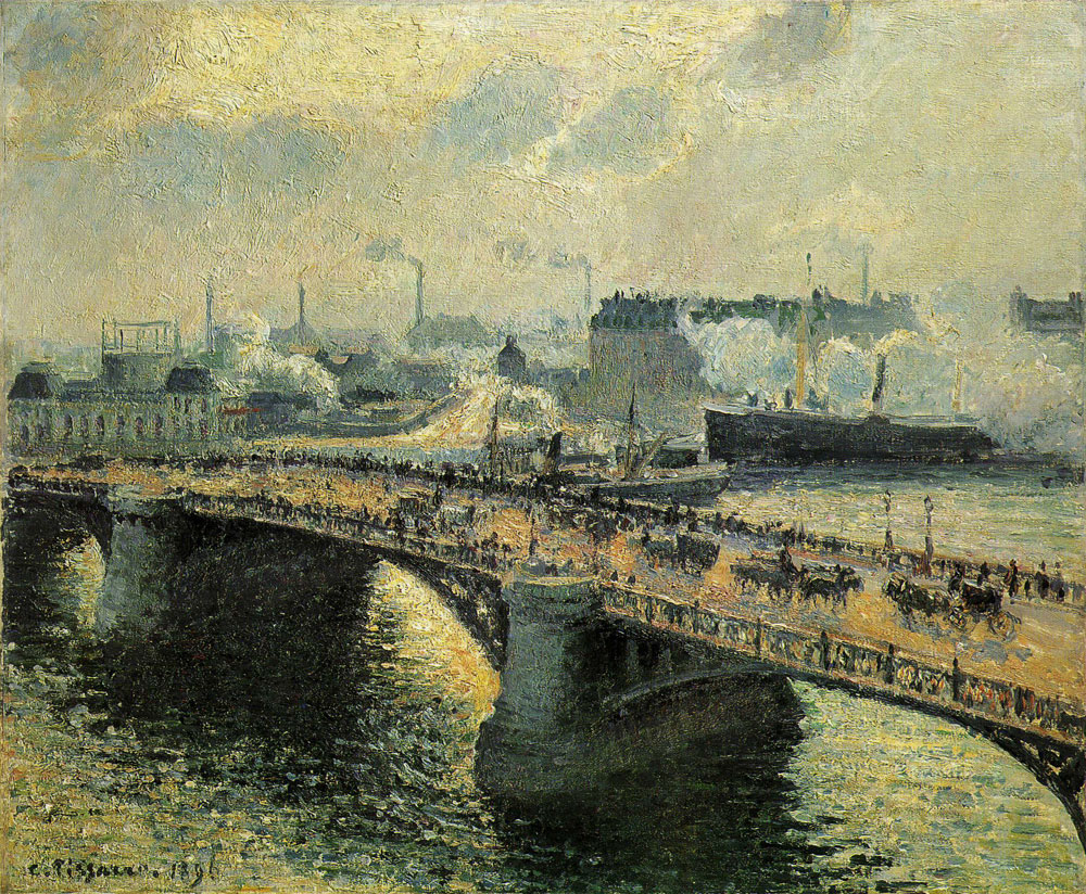 Camille Pissarro - The Boïeldieu Bridge at Rouen, Setting Sun, Foggy Weather