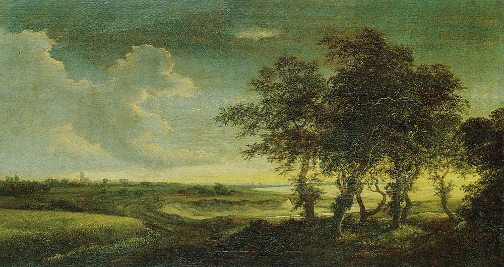 Jacob van Ruisdael - Extensive Landscape with Trees, a Grainfield, Dunes and a Distant View of a Town