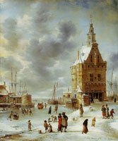 Jan Beerstraten Ice Scene near Hoorn