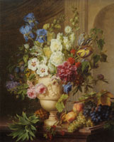 Gerard van Spaendonck - Flowers in an Alabaster Vase and Fruits on a Marble Top