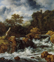 Jacob van Ruisdael Waterfall with a Castle on a Mountain