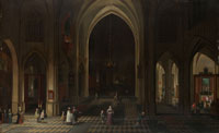 Peeter Neefs the Elder Interior of a Gothic Church at Night Looking East