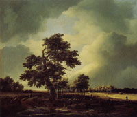 Jacob van Ruisdael Flat Landscape with Grainfields and Trees