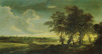 Jacob van Ruisdael Extensive Landscape with Trees, a Grainfield, Dunes and a Distant View of a Town