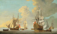 Attributed to Cornelis van de Velde - The flagship Royal Sovereign firing a salute at the Nore with other warships and Admiralty yachts in attendance