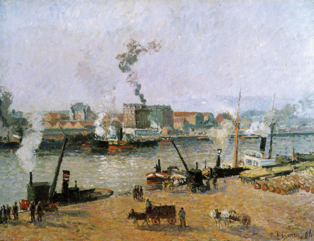 Camille Pissarro - Misty Morning, Rouen or Quai de la Bourse, Rouen, Hazy Sunlight