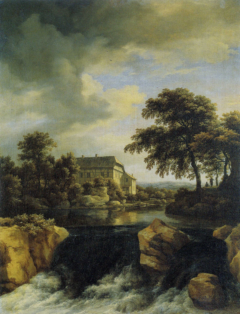 Jacob van Ruisdael - Waterfall with a Placid Pond and a Large House