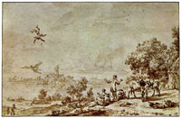 Nicolaes Berchem Landscape with Icarus' Fall