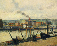 Camille Pissarro Morning, Rouen, the Wharves or View of the Quai Cavelier-de-la-Salle, Rouen