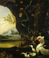 Adriaen Coorte Mountainous landscape with ducks