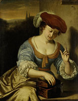 Frans van Mieris A Woman with a Bird in a Small Coffer