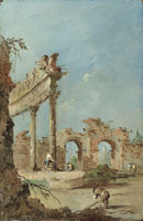 Francesco Guardi - An architectural capriccio with a man collecting branches and figures by ruins
