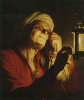 Gerard van Honthorst Old woman examining a coin by a lantern (Sight or Avarice)