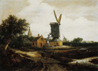 Jacob van Ruisdael Windmill at the Edge of a Village