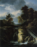 Jacob van Ruisdael Wooded Landscape with a High Waterfall and a Footbridge