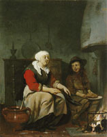 Circle of Gabriel Metsu A woman and a boy cooking pancakes