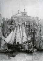 Richard Parkes Bonington Ships in a Harbour, possibly Le Havre