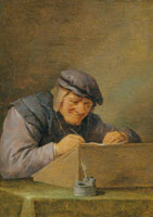 David Teniers the Younger - A Tax Collector Writing