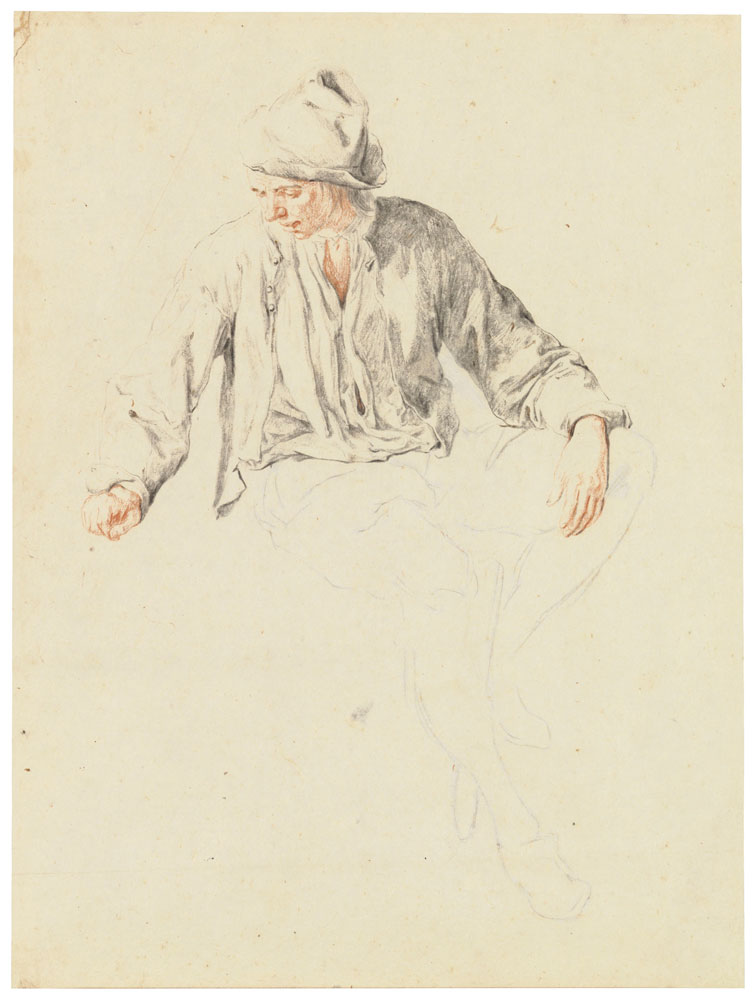 Cornelis Dusart - Study of a seated man looking to the left