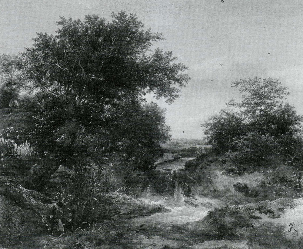 Jacob van Ruisdael - Trees and Bushes in a Dune Landscape with a Little Waterfall