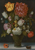 Ambrosius Bosschaert the Elder - Flowers in a berkemeier glass on a stone ledge