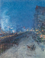 Childe Hassam The El, New York (Sixth Avenue El--Nocturne)