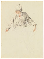 Cornelis Dusart Study of a seated man looking to the left