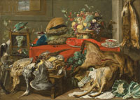 Frans Snyders A larder with a draped table laden with game, a lobster, vegetables and fruit in a basket, and kraak porcelain, with a parrot and two hounds