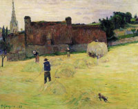 Paul Gauguin Hay-Making in Brittany