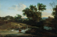 Herman van Swanevelt An Italianate landscape with figures and cattle by a pool