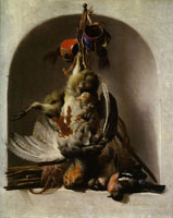 Melchior d'Hondecoeter Dead Birds and Hunting Equipment in a Niche