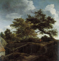Jacob van Ruisdael Wooded Landscape with a Rear View of a Water Mill with a Man in a Punt