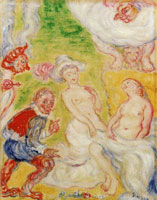 James Ensor A Famous Person, Jef Vogelpik and Paul Rubens Ogling Plump Women